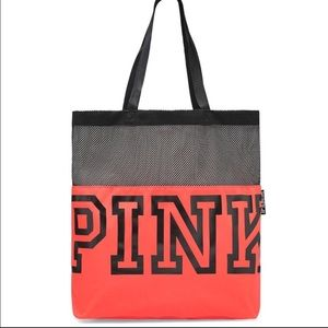 New. Pink Victoria's Secret Neon Red Mesh tote.